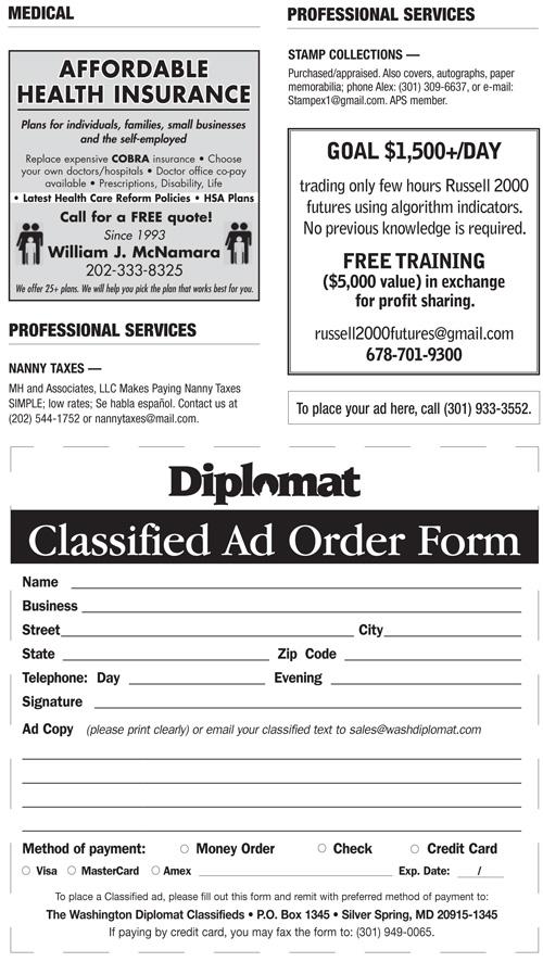 Classifieds – January 2012