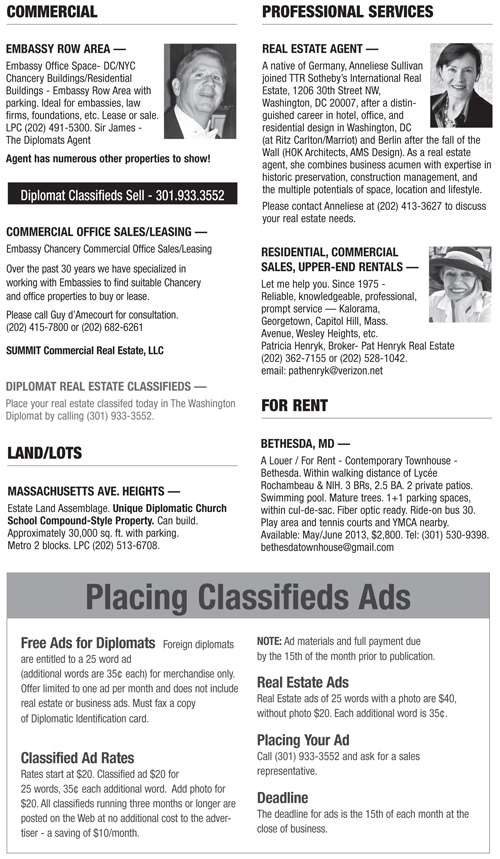 Real Estate Classifieds – May 2013